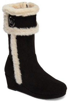 MICHAEL Michael Kors Girl's Cate Win Faux Fur Wedge Boot