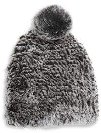 Saks Fifth Avenue Rex Plush Rabbit Fur Beanie