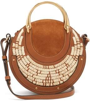 Chloé Pixie small leather and raffia cross-body bag