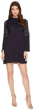 Brigitte Bailey Janiyah Bell Sleeve Dress with Lace Detail Women's Dress