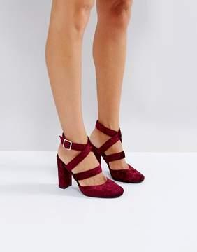 London Rebel Asymmetric Block Velvet High Heels