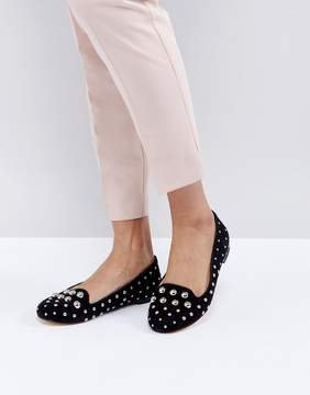 Office Floodlight Studded Suede Flat Shoes