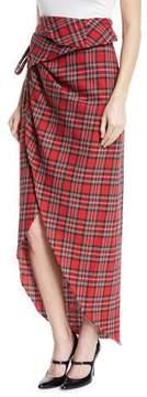 Awake Raw-Edge Tartan Plaid Skirt