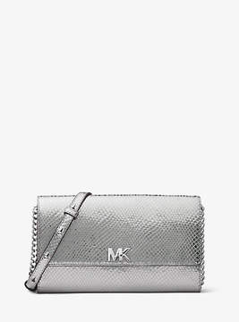 Michael Kors Mott Metallic Embossed Leather Crossbody - SILVER - STYLE