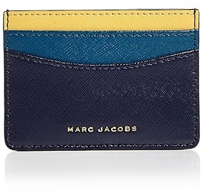 Marc Jacobs Color Block Saffiano Leather Card Case - MIDNIGHT BLUE MULTI/GOLD - STYLE