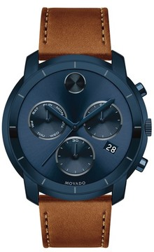 Movado Men's Bold Thin Chronograph Leather Strap Watch, 44Mm