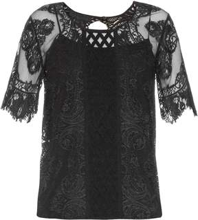 Burberry Round-neck contrast-lace top