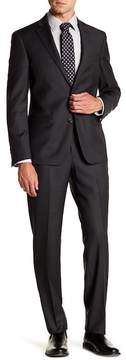 Nordstrom Solid Charcoal Trim Fit Two Button Notch Lapel Wool Suit