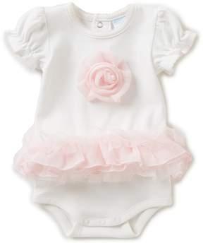 Edgehill Collection Baby Girls Newborn-6 Months Ruffled Rosette Bodysuit