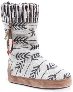 Muk Luks Women's Maribelle Knit Chevron Boot Slippers