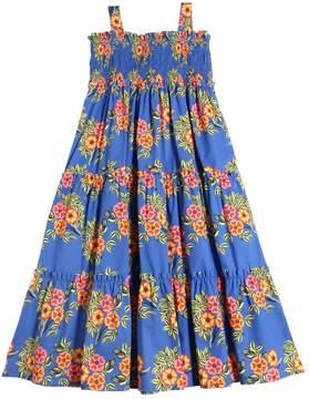 MSGM Floral Printed Cotton Poplin Long Dress