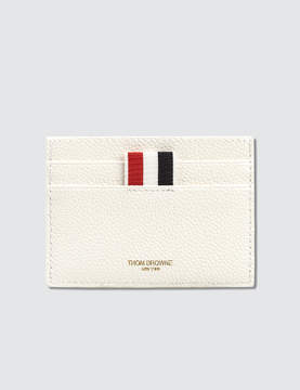 Thom Browne Pebble Grain and Calf Leather Single Card Holder with Tennis Racket Intarsia