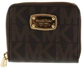 Michael Kors Brown PVC Zip Around Bifold Wallet (Rectangular Plate) - BROWN - STYLE