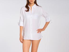 Allen Allen 3/4 Roll Sleeve Button Front Shirt