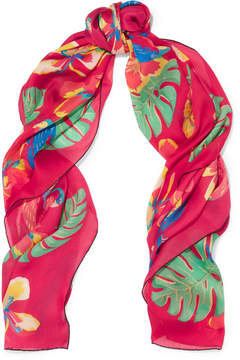 Valentino Tropical Dream Printed Silk Scarf - Bubblegum