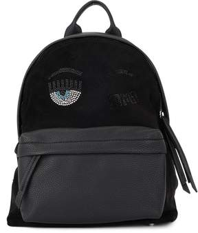 Chiara Ferragni Flirting Black Faux Leather And Sequins Backpack