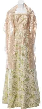 Theia Jacquard Evening Gown