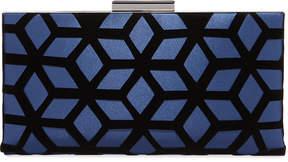 Neiman Marcus Satin Evening Clutch Bag w/Velvet Overlay