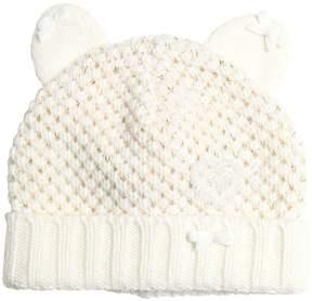 Miss Blumarine Knitted Wool & Cashmere Hat W/ Lurex