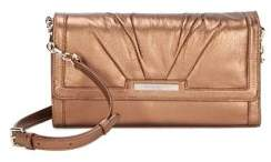 Donna Karan Metallic Flap Leather Shoulder Bag