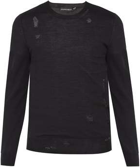Alexander McQueen Distressed wool-blend fine-knit sweater
