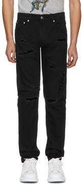 Alexander McQueen Black Destroyed Jeans