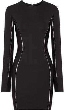 Dion Lee Pointelle-trimmed Stretch-knit Mini Dress - Black