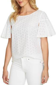 Cynthia Steffe CeCe by Ditsy Ruffle Slit Sleeve Eyelet Blouse