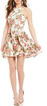 B. Darlin Racer Neckline Floral-Print Fit-And-Flare Dress