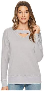 Allen Allen Deep V with Ribbed Neckband Sweatshirt Women's Sweatshirt
