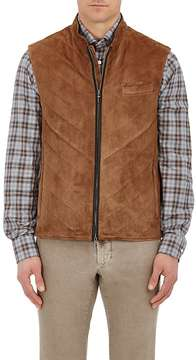Luciano Barbera MEN'S QUILTED SUEDE VEST