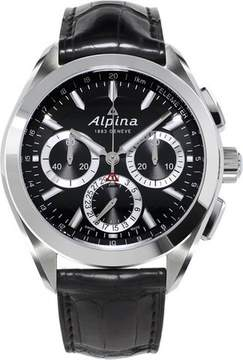 Alpina Alpiner 4 Flyback Chronograph Black Dial Leather Strap Men's Watch