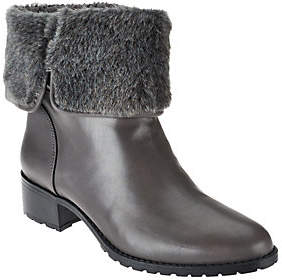 Halston H by Leather Ankle Boots with FauxFur - Caroline