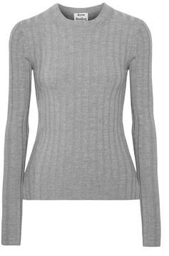 Acne Studios Carina Ribbed Wool-blend Sweater - Light gray