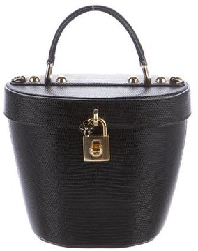 Dolce & Gabbana Embossed Leather Bucket Bag - BLACK - STYLE