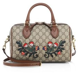 Gucci Embroidered GG Supreme Canvas Top-Handle Bag - BEIGE-MULTI - STYLE
