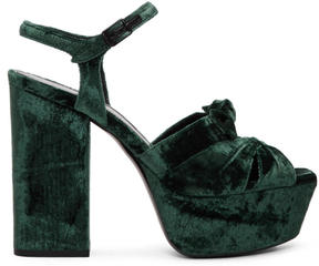 Saint Laurent Green Velvet Farrah Sandals