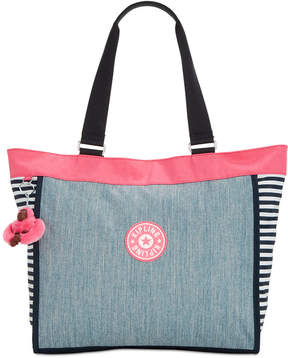 Kipling Shopper Large Denim Tote, Created for Macy's - PINK/INDIGO BLUE COMBO/SILVER - STYLE