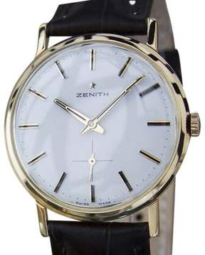 Zenith 18K Rose Gold / Leather Vintage 33mm Mens Watch