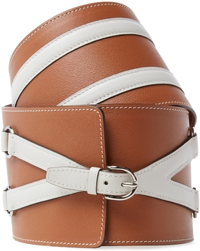 Hermes Women's Vintage Natural & White Calfskin Belt 70