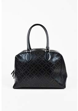 Alaia Pre-owned Black Laser Cut Leather Double Handle Dome Bag.