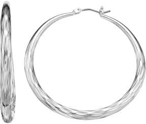 Dana Buchman Textured Silver Tone Hoop Earrings