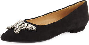Neiman Marcus Suede Flat W/Crystal Butterfly Ornament, Black