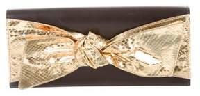 Saint Laurent Snakeskin Bow Front Clutch