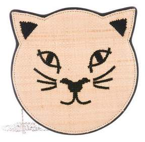 Charlotte Olympia Straw & Leather Pussycat Purse