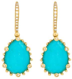 Frederic Sage 18k Yg Small Ps Turquoise and Crystal With Diamond on 6 Prongs and on Hook Tivoli Earrings