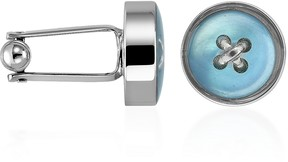 Forzieri Blue Button Mother-of-Pearl Silver Plated Cufflinks