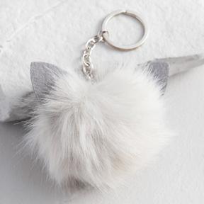 World Market Gray Cat Pom Keychain