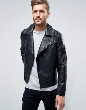 ONLY & SONS Biker Jacket In Faux Leather