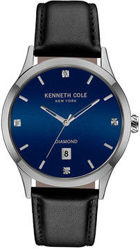 Kenneth Cole New York Men's Diamond Accent Black Leather Strap Watch 42mmx50mm 10030784